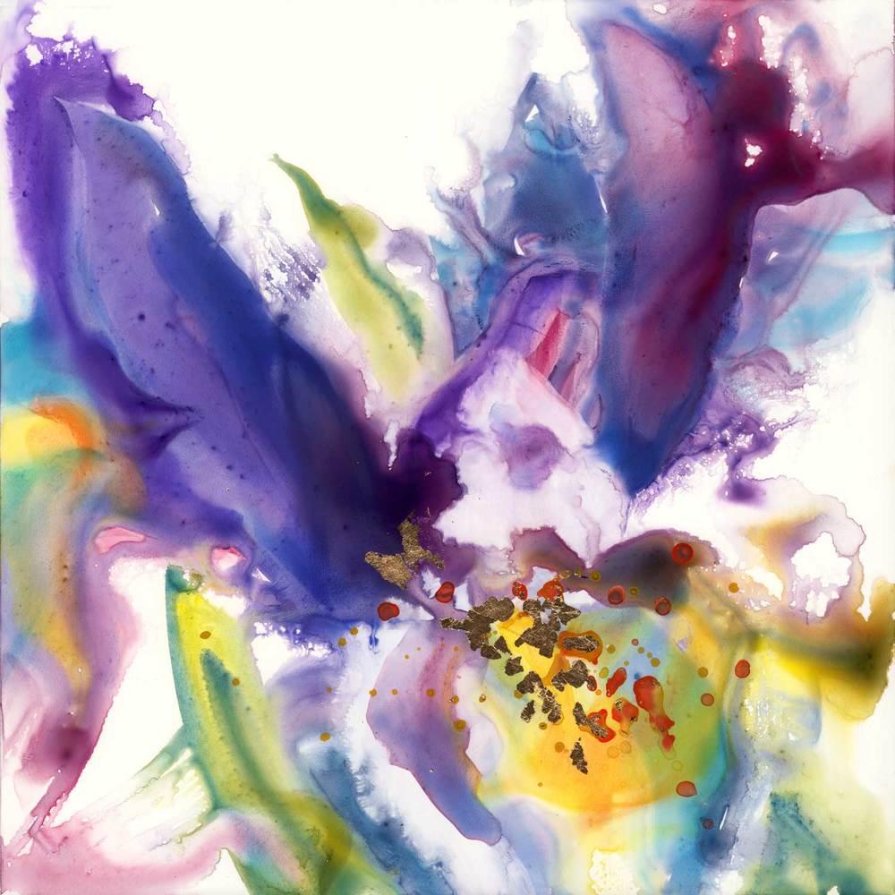 Purple iris original painting art by yevgenia watts izmirmasajfo