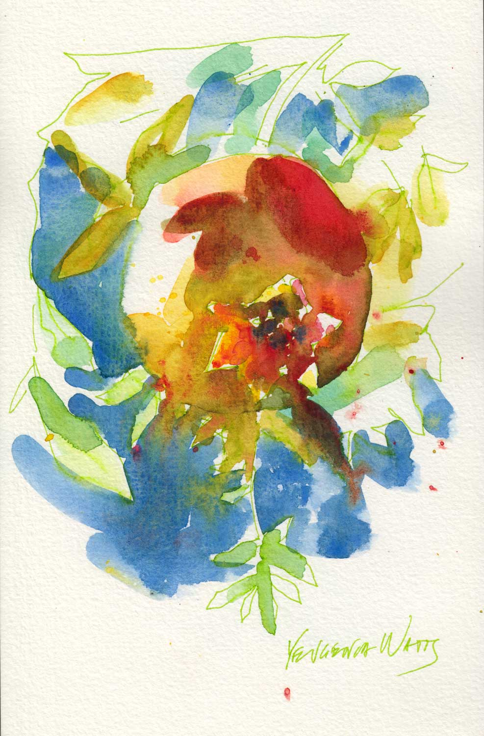 This curiously shaped fruit caught my eye in my parents' garden, on a hot summer afternoon. Watercolor, Le Pen in Pentalic sketchbook.