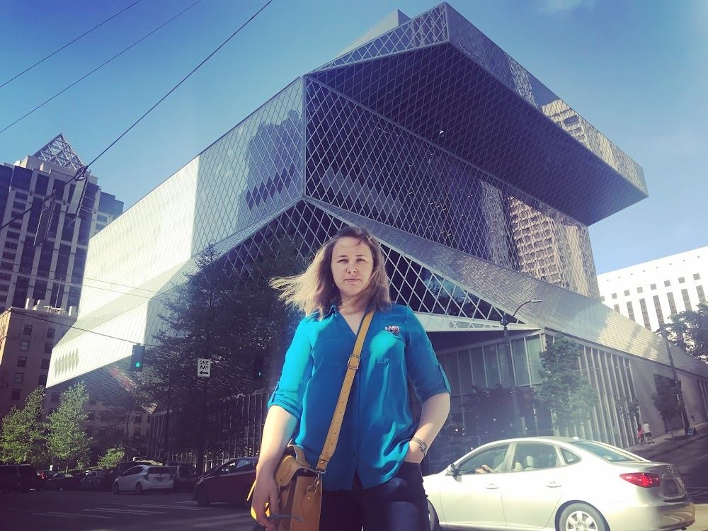 In front of the Seattle Public Library by Rem Koolhaas.