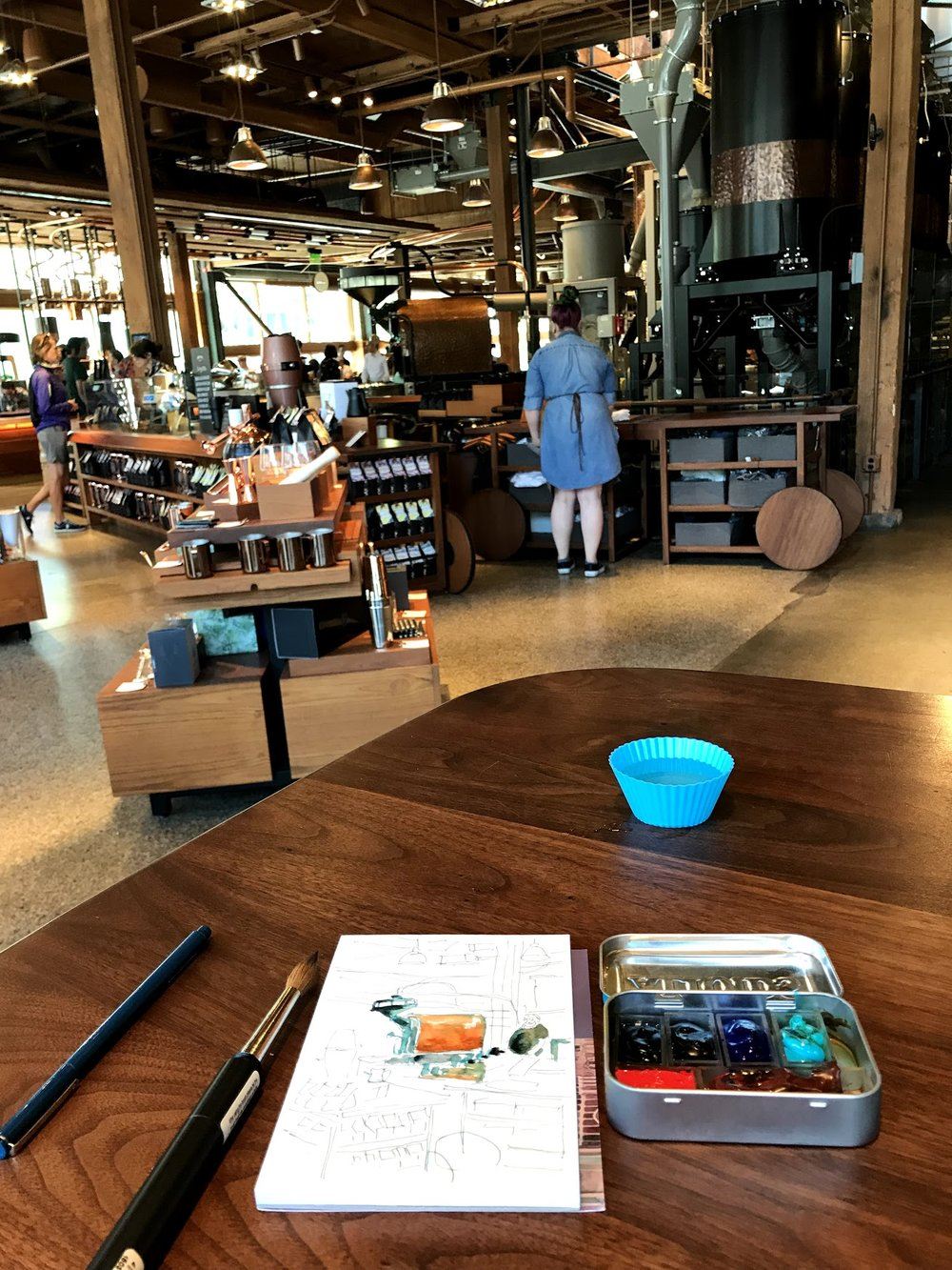 Sketching at the Starbucks Reserve in Seattle.