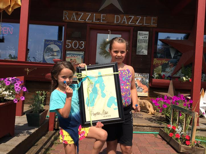 Two of our cutest customers shopping at Razzle Dazzle in McCall, Idaho.