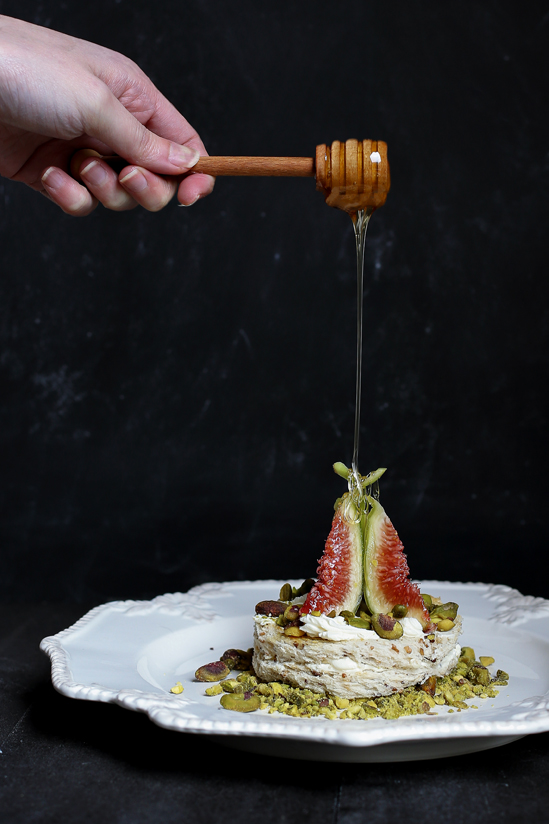 Honey, Figs and Cream Cheese Sandwich with Roasted Pistachios.