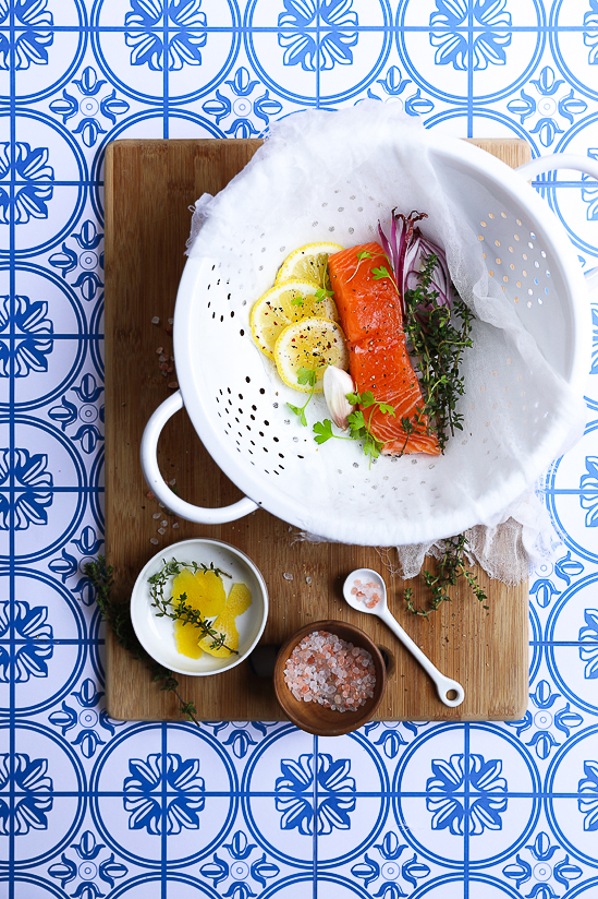 Baked Salmon with Lemon, Thymes and Garlic