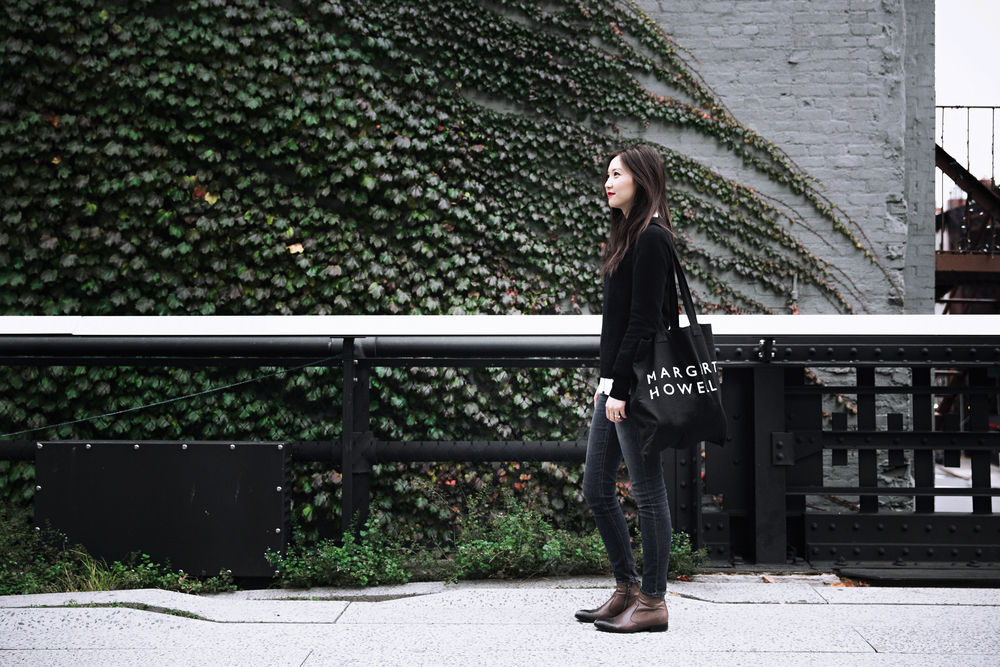 The High Line, wearing: COS shirt, Equipment  sweater, Acne jeans, Prada boots, Margaret Howell tote