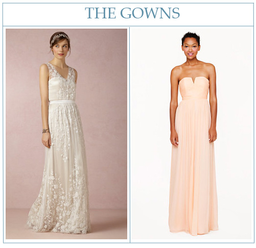 BHLDN Sian wedding gown  and  Nadia bridesmaid dress from J. Crew