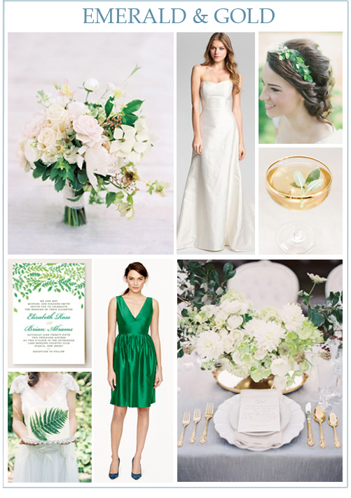 Image Credits: Bouquet, Caroline DeVillo gown from Nordstrom, leafy green hair piece, gold rimmed cocktail, China Plate wedding invitation from Minted, green wedding cake, Hope dress from J. Crew, emerald and gold tablescape.