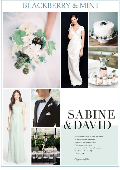 Image credits:  Bouquet from Taylor Lord ,  Carson wedding gown from J. Crew ,  blackberry wedding cake ,  blackberry spritzer cocktails ,  Amsale bridesmaid dress from Nordstrom .  groom's look ,  tablescape via Snippet & Ink ,  invitation from Minted .