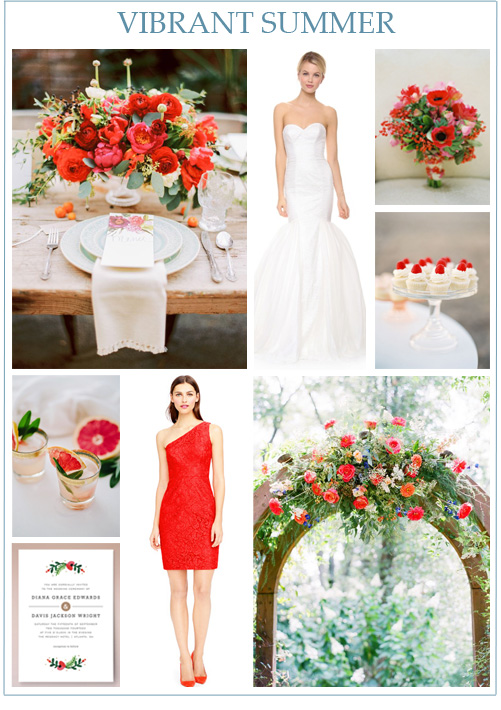 Image credits: Vibrant centerpiece, wedding gown, red bouquet, cupcakes by Jose Villa, grapefruit & sage cocktails, invitation from Minted, bridesmaid dress from J. Crew, and colorful floral arch.
