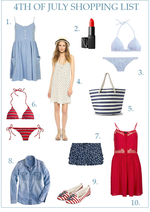 1. Topshop chambray dress, 2.  NARS Heatwave lipstick, 3. J. Crew seersucker bikini, 4.  Soft Joie sundress, 5. striped beach tote from Forever 21, 6.  J. Crew striped bikini, 7.  sailboat print shorts, 8. J. Crew chambray blouse, 9. Topshop anchor flats , 10.  Topshop red lace dress.