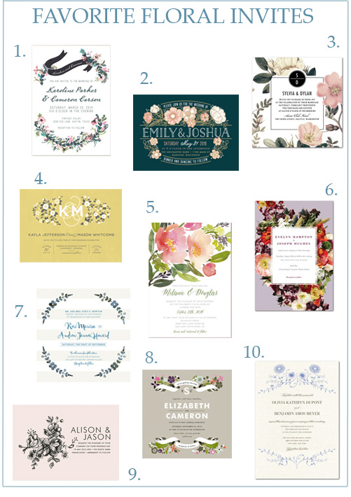 Image credits: 1.  Minted  ,  2.  Minted , 3.  Wedding Paper Divas , 4.  Minted , 5.  Minted , 6.  BHLDN for Wedding Paper Divas , 7.  Minted , 8.  Minted , 9.  Minted , 10.  Marchesa for Wedding Paper Divas