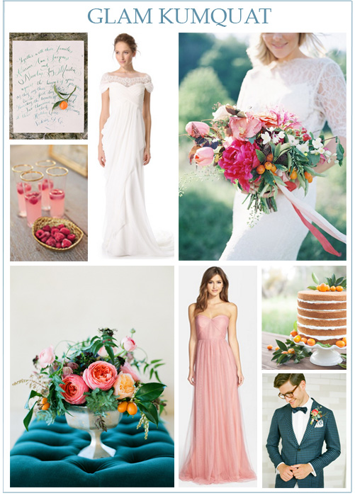 Image credits:  Calligraphy menu  from  Adrian Michael ,  raspberry cocktails  from  Carlie Statsky ,  Marchesa Grecian Illusion Gown ,  vibrant kumquat bouquet from The Day's Design  by  Heather Payne Photography ,  kumquat centerpiece from STEMS  by  Taylor Lord Photography ,  Jenny Yoo tulle bridesmaid dress ,  kumquat wedding cake  by  Michael & Kate Photography , and  groom inspiration  from  KT Merry