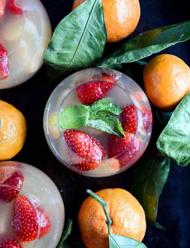 Strawberry Sumatsa Champagne Sangria via How Sweet Eats