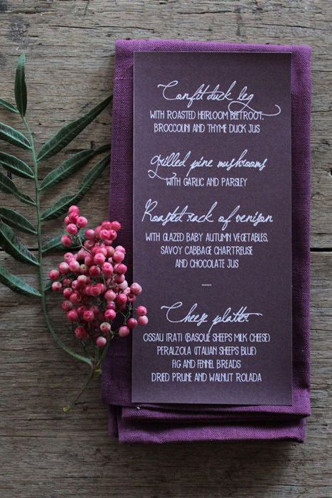 Plum napkin and menu via Intimate Weddings