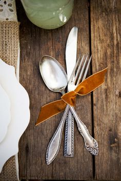 Flatware tied with velvet