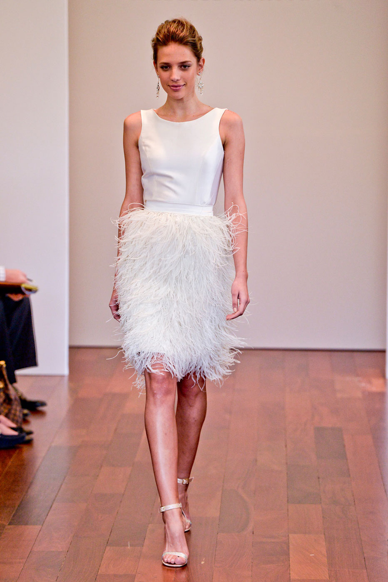 Short sassy wedding dresses lindsey brunk event for Wedding dress with ostrich feathers