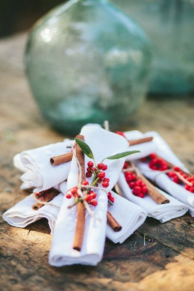 Cinnamon stick napkins