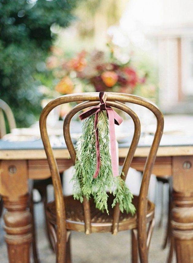 Evergreen chair decor