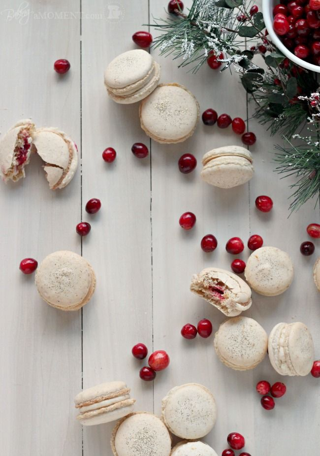 Orange walnut macarons with spiced cream cheese & cranberry filling