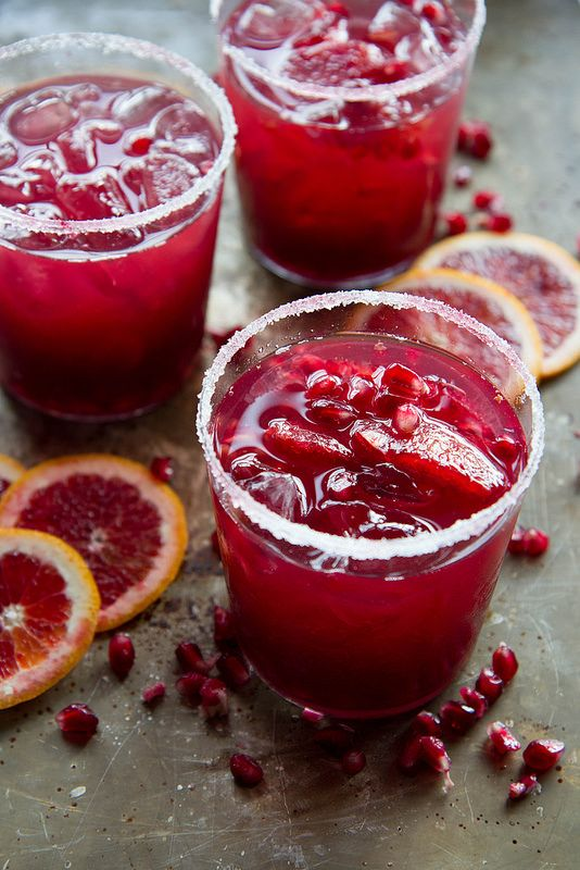Skinny Blood Orange Pomegranate Margaritas