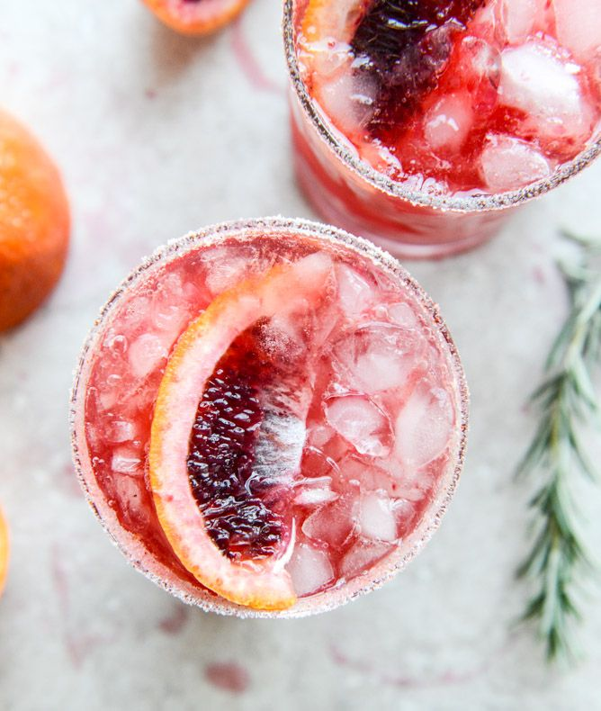 Blood Orange Bourbon Smash with Spicy Vanilla Sugar