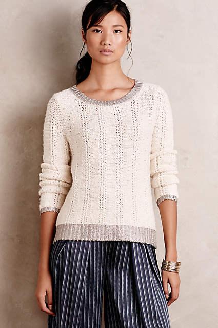Anthropologie Glimmer-Banded Pullover