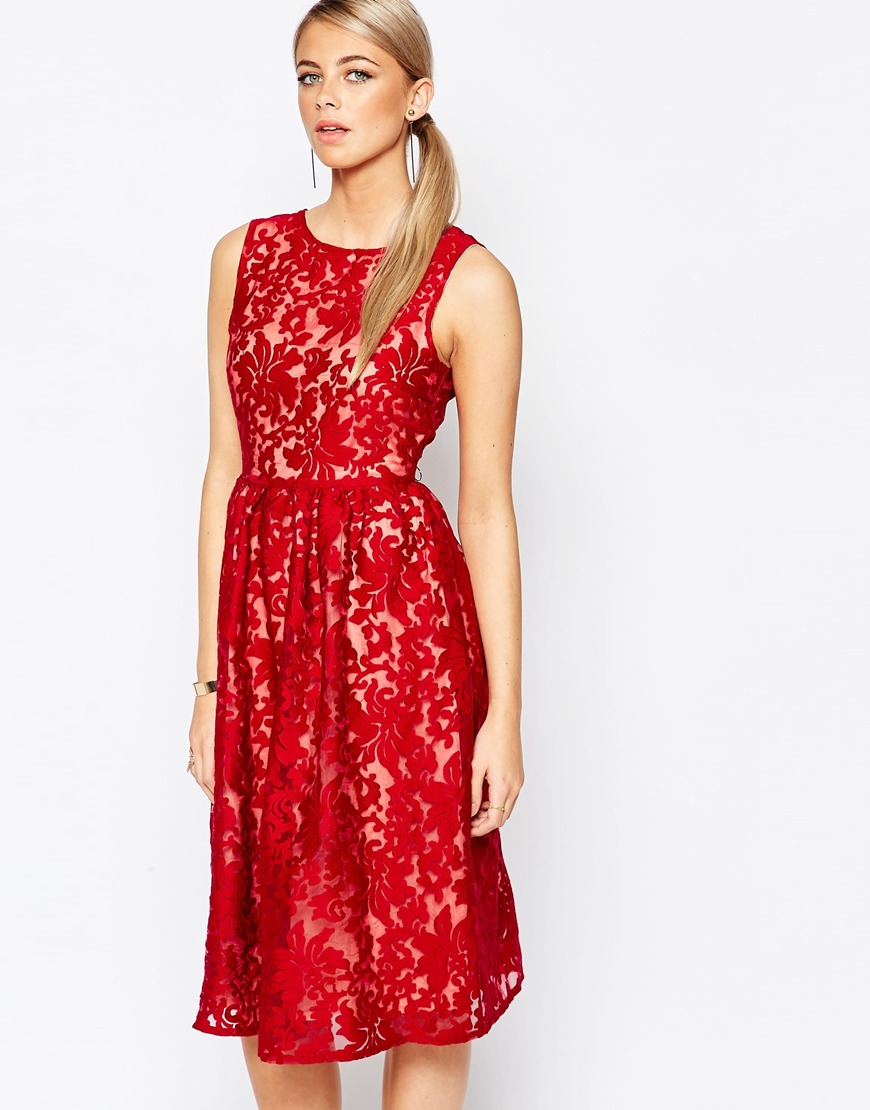 Embroidered Organza Midi Dress