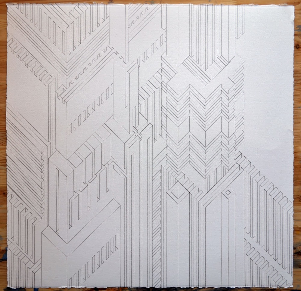 Structure 20,  2014  graphite on watercolor paper  22 x 22 inches