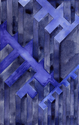 Purp Structure  , 2013   watercolor on watercolor paper  11 3/4 x 7 1/2 inches
