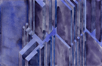 BluHor Structure  , 2013   watercolor on watercolor paper  7 1/2 x 11 3/4 inches