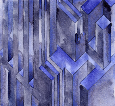 BluSquare Structure  , 2013   watercolor on watercolor paper  7 1/2 x 8 inches