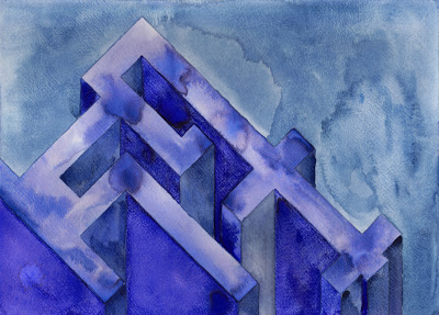 Blueish Structure,  2013  watercolor on watercolor paper  8 ½ x 11 ¾ inches