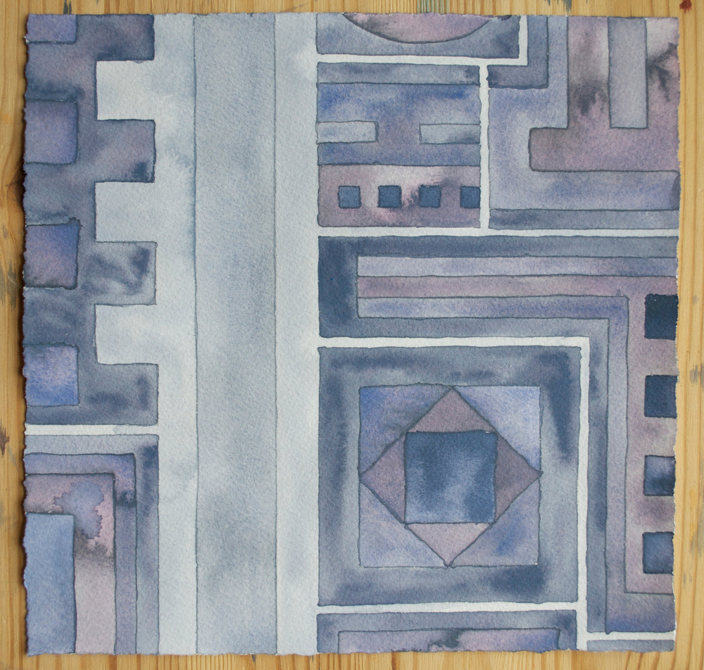 Cityscape 4,  2014 watercolor and gouache on watercolor paper 8 x 8 inches