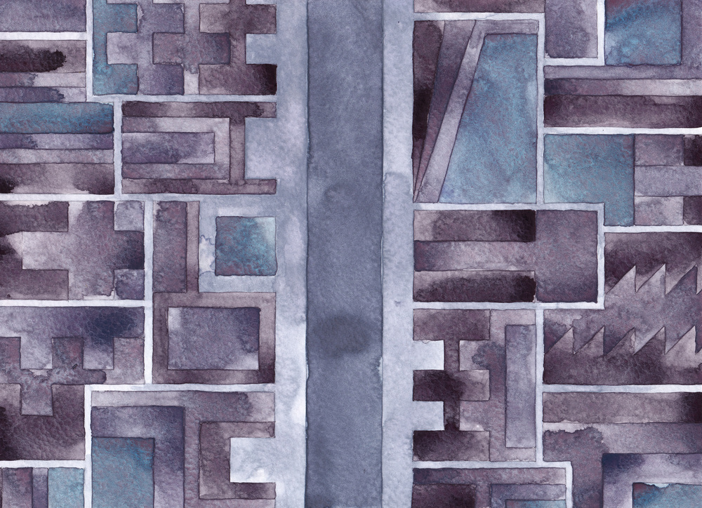 Cityscape 16, 2014 watercolor on watercolor paper 8 ½ x 11 ¾  inches