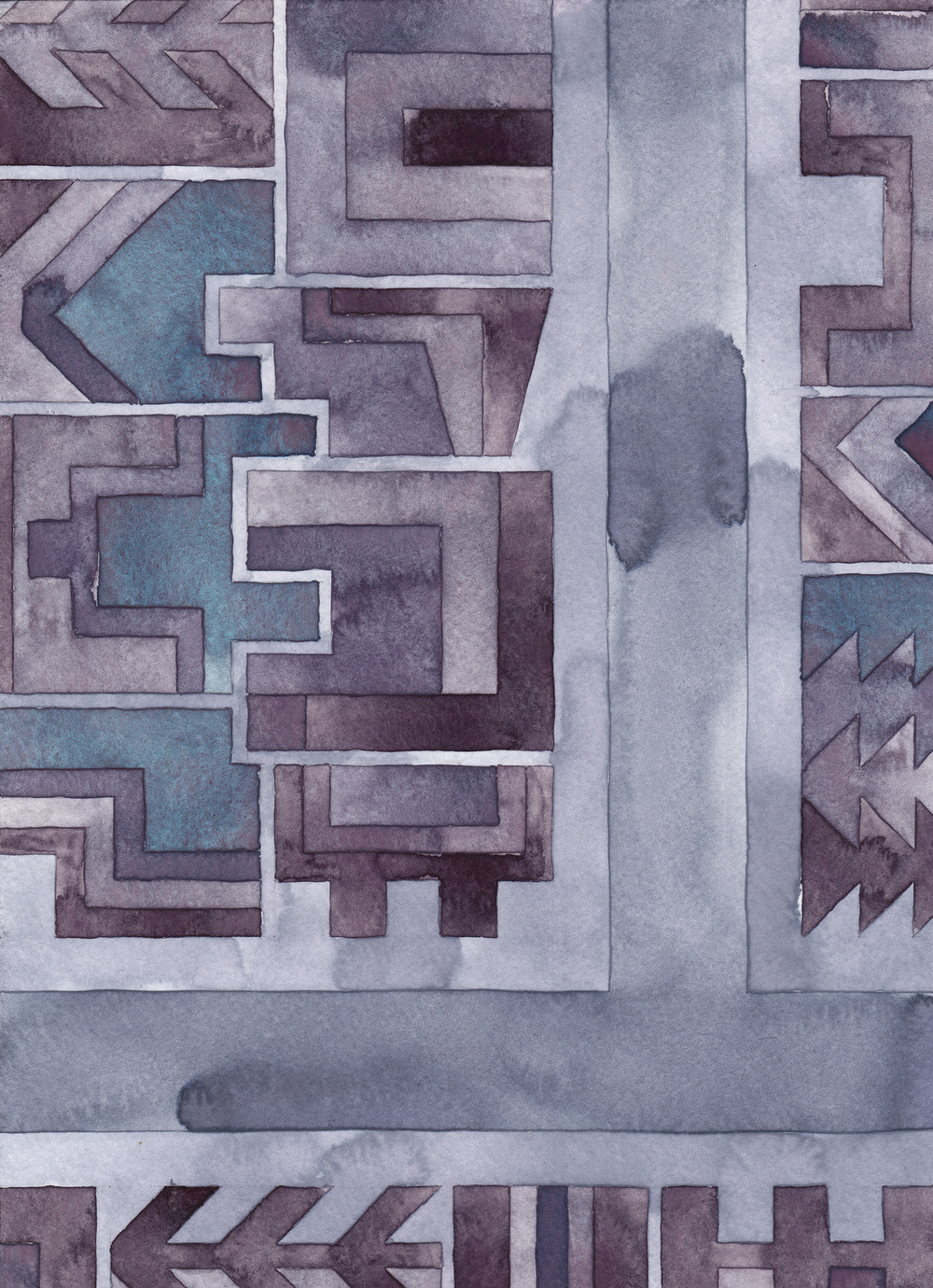 Cityscape 18, 2014 watercolor on watercolor paper 11 ¾ x 8 ½  inches