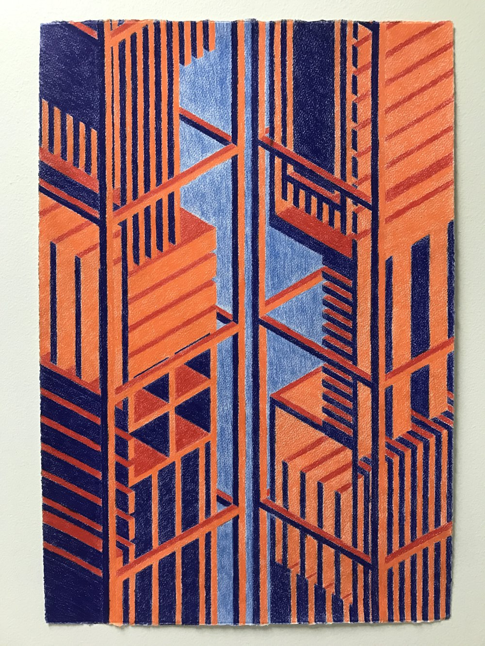 Tower (unctuous), 2015  colored pencil graphite on printmaking paper  22 x 15 inches