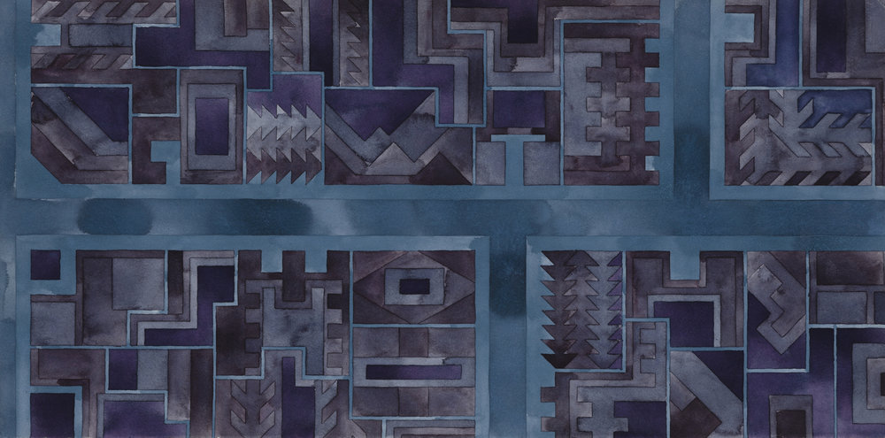 Cityscape 33 , 2015  watercolor on watercolor paper  15 x 30 inches