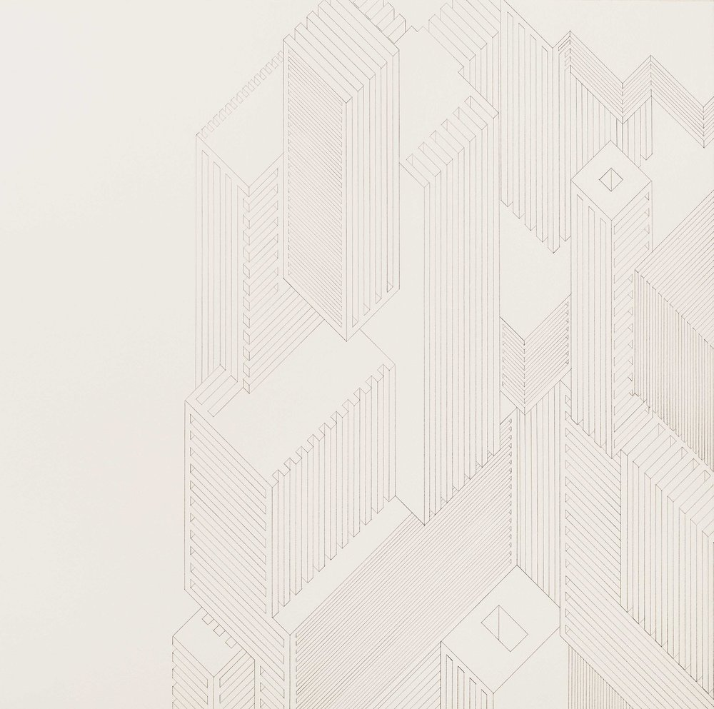 Structure 7, 2013  graphite on watercolor paper  22 x 22 inches