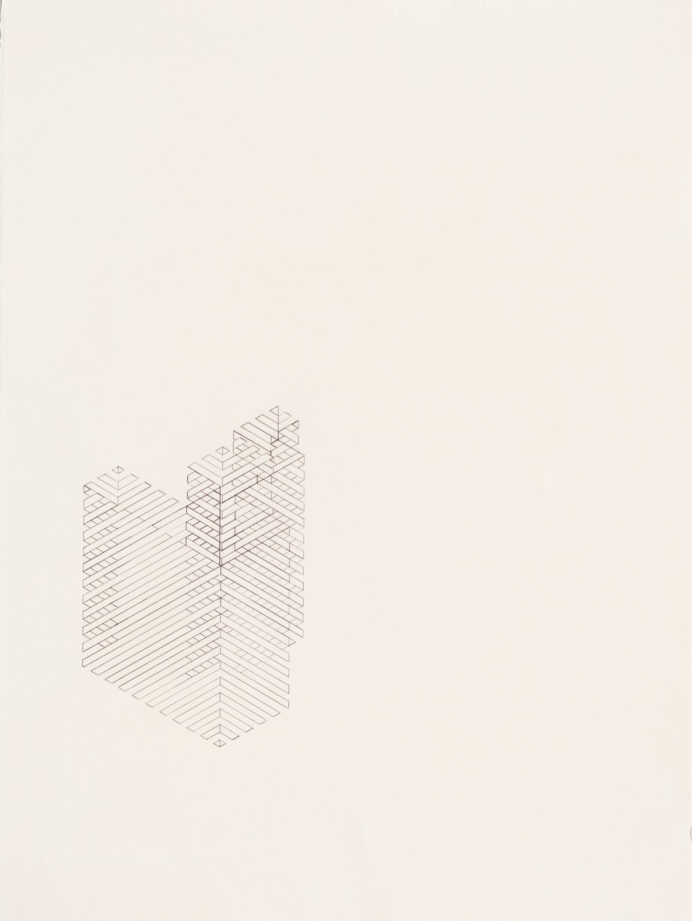 Construction 3, 2011  graphite on printmaking paper  30 x 22 inches