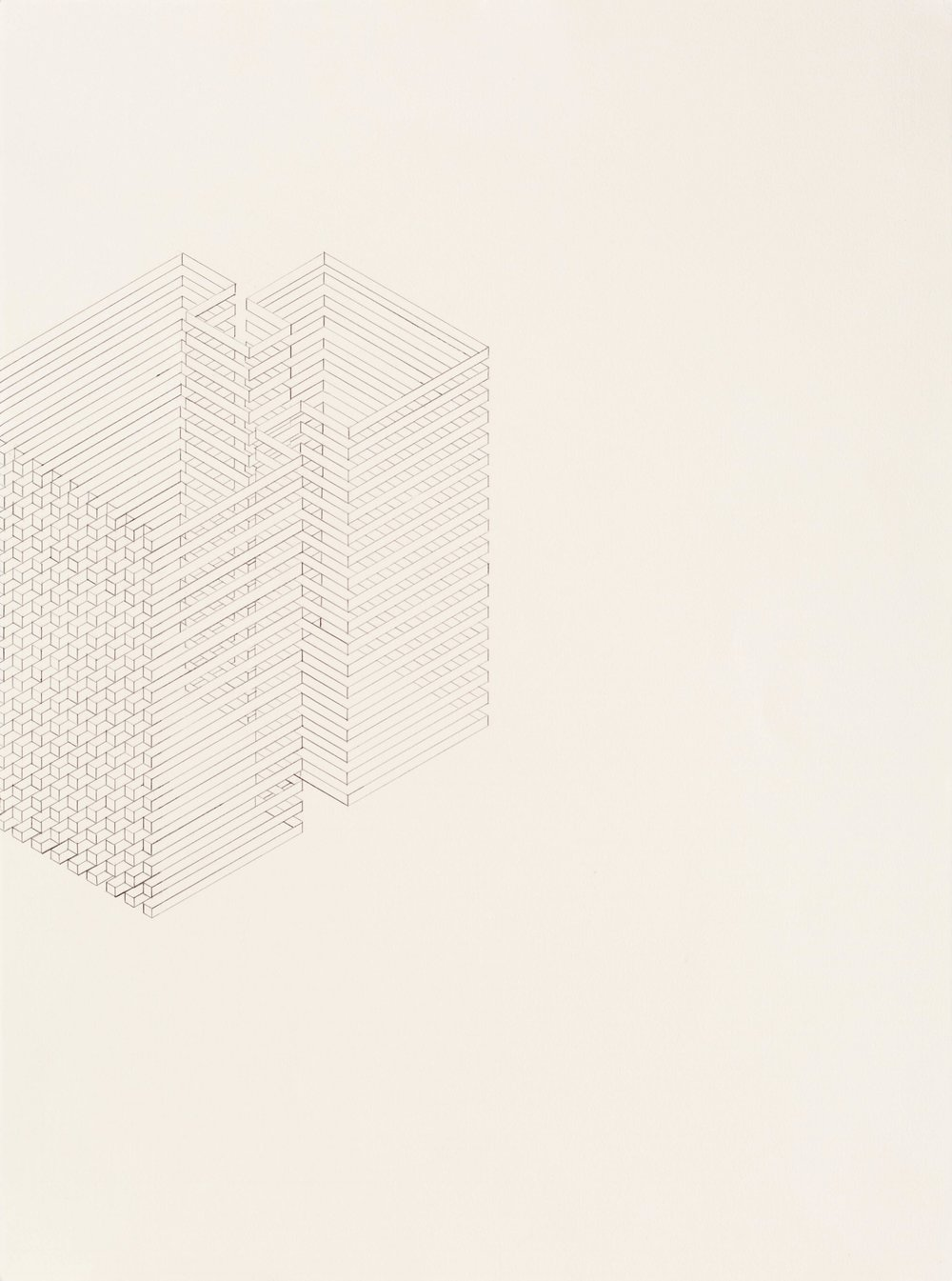 Construction 1, 2011  graphite on printmaking paper  30 x 22 inches
