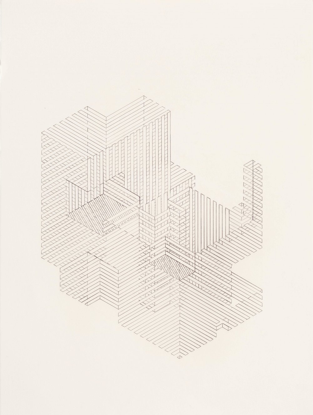 Construction 5, 2011  graphite on printmaking paper  30 x 22 inches
