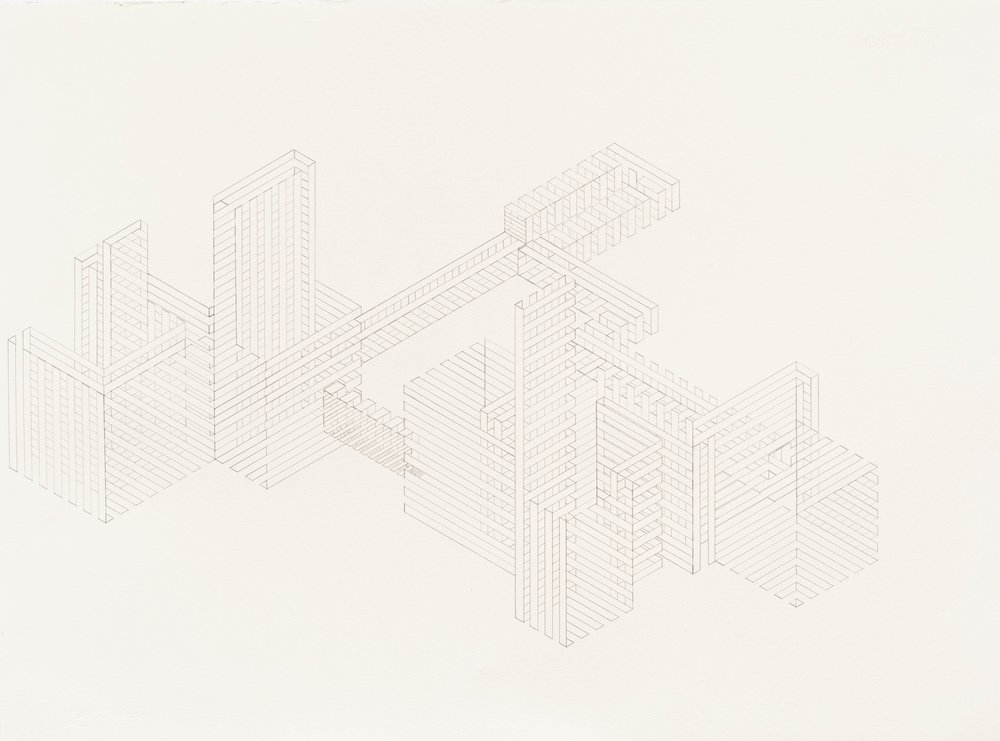 Construction 9, 2012  graphite on printmaking paper  22 x 30 inches