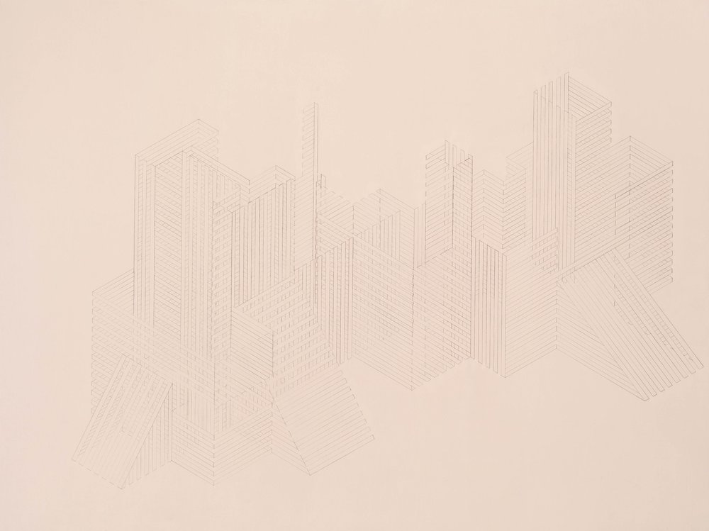 Construction 12, 2012  graphite acrylic on panel  30 x 40 inches