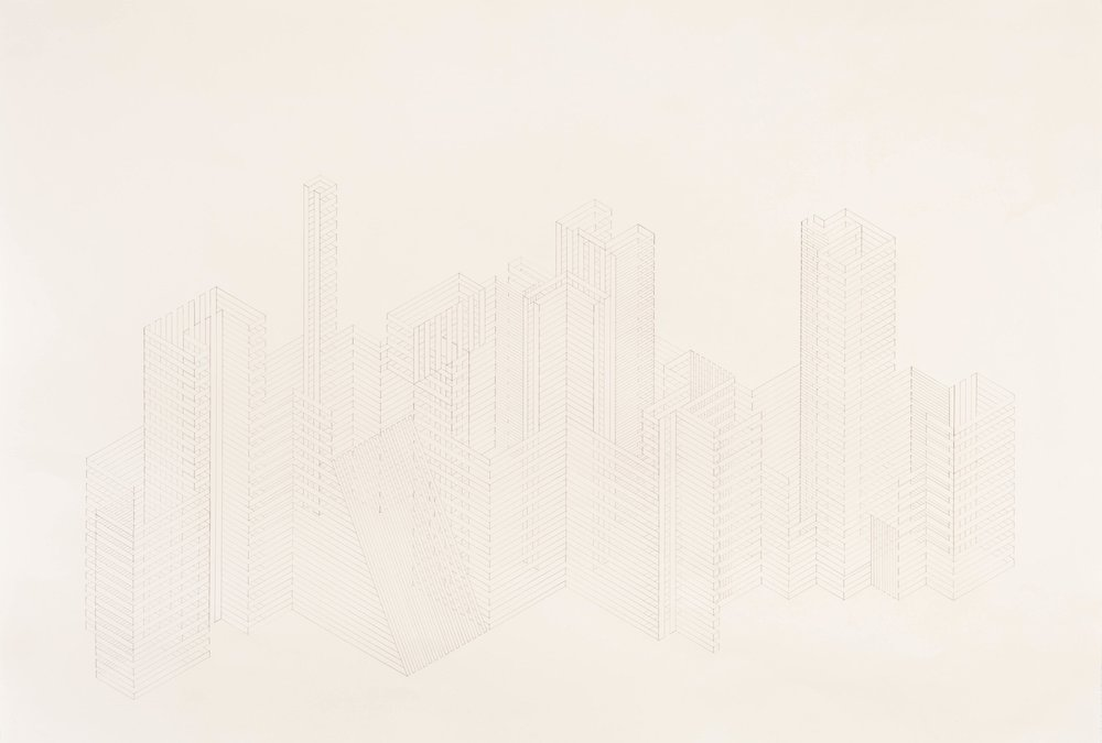 Construction 16, 2012  graphite on printmaking paper  30 x 40 inches