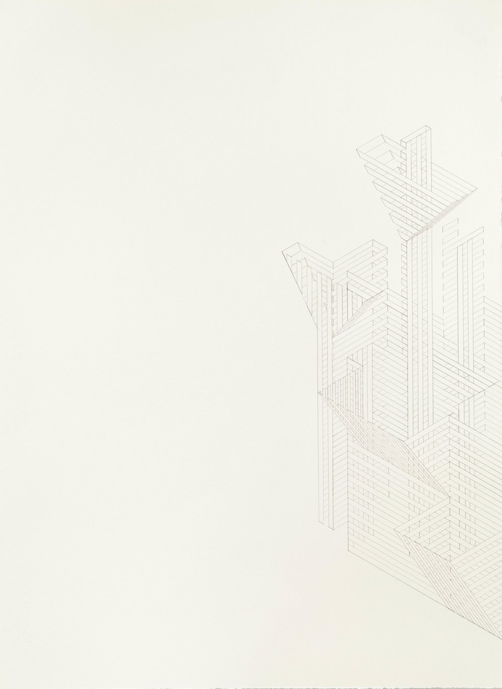 Construction 28, 2012  graphite on printmaking paper  30 x 22 inches