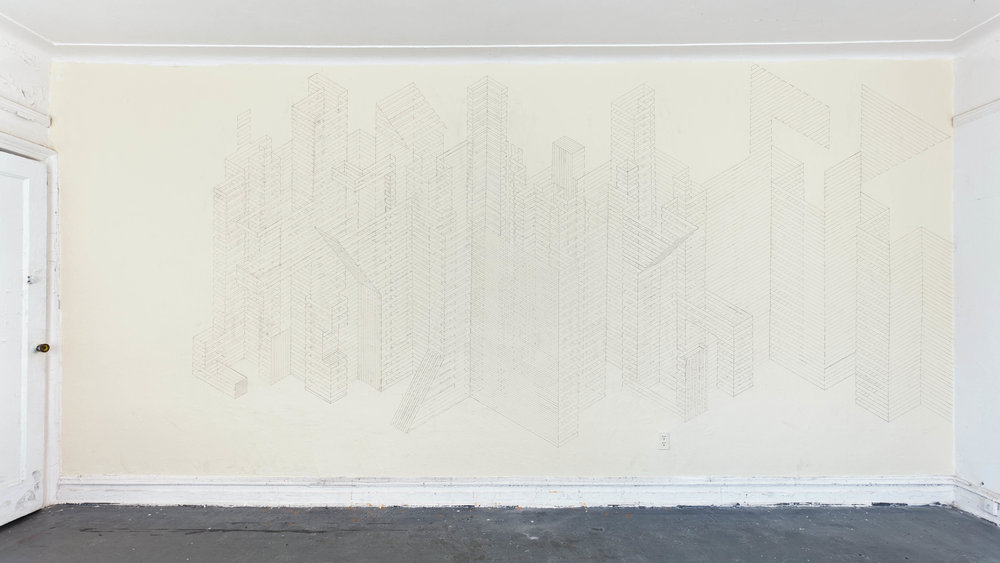 Construction Wall Drawing 1, 2012  graphite acrylic on wall  8 x 18 feet