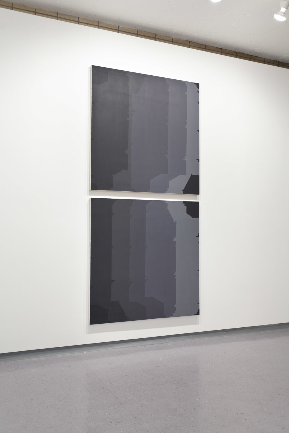 Façades 15, 2012  acrylic on canvas  99 x 48 inches (each canvas 48 x 48in.)
