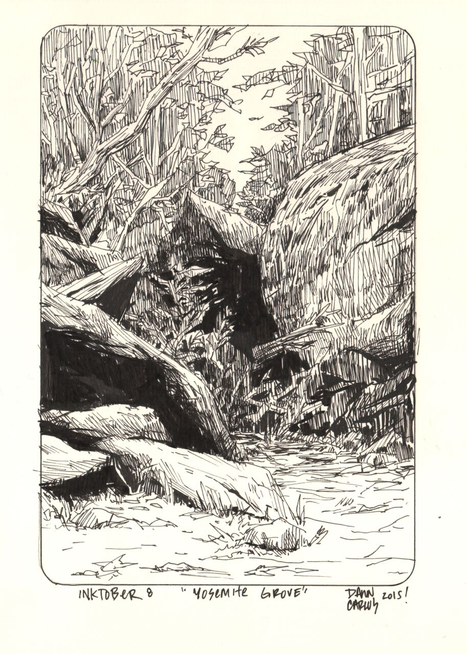 """Yosemite Grove"" Ink on Moleskine Paper"