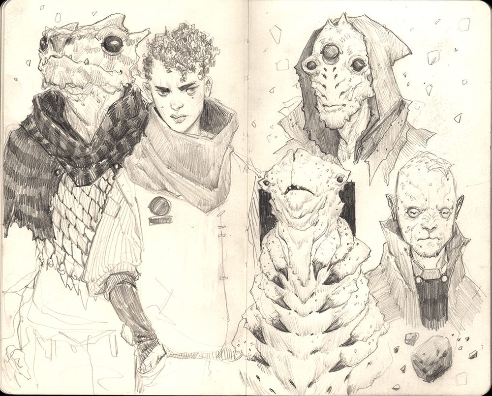 """Space Crew & The Merchants"" Graphite on Moleskine Sketchbook"