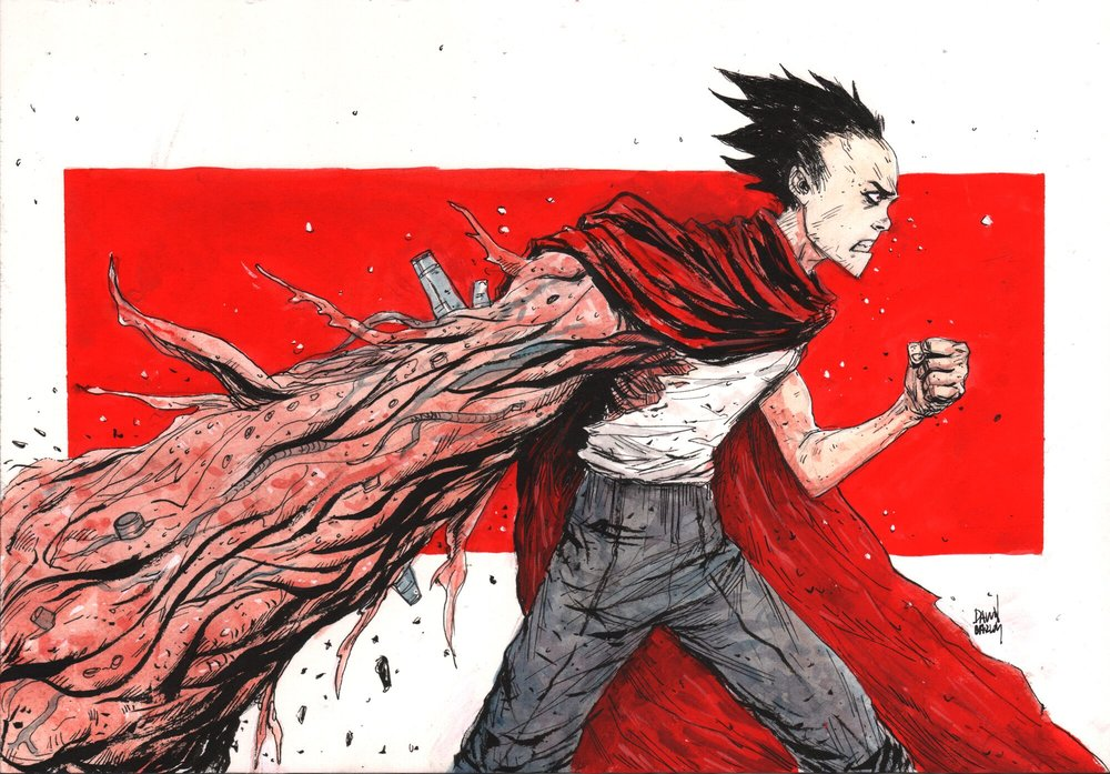 """Tetsuo"" Ink & Watercolor on Watercolor Paper"
