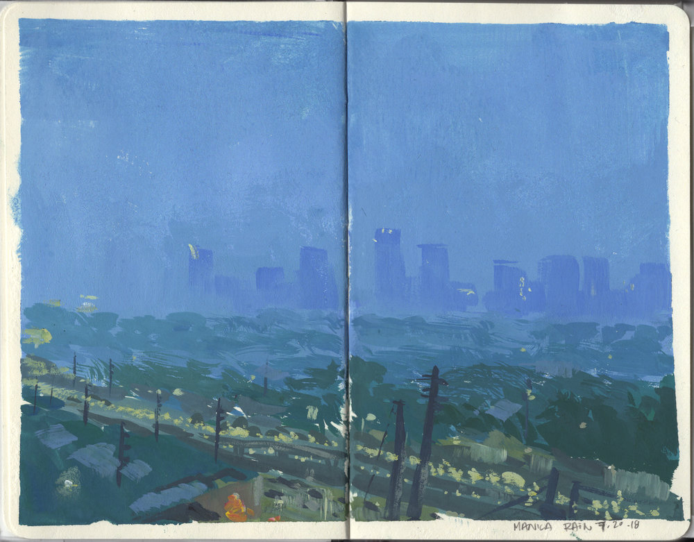 """Manila Rain"" Gouache on Moleskine Sketchbook"
